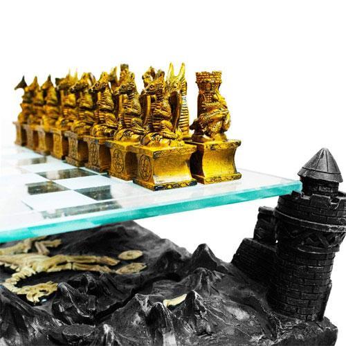 Resin Dragon King Chess board game Set - Board Game/Printings