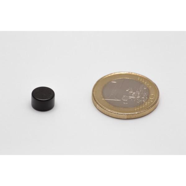 Neodymium disc magnet 8x5mm, N45, black Epoxy plated - Disc