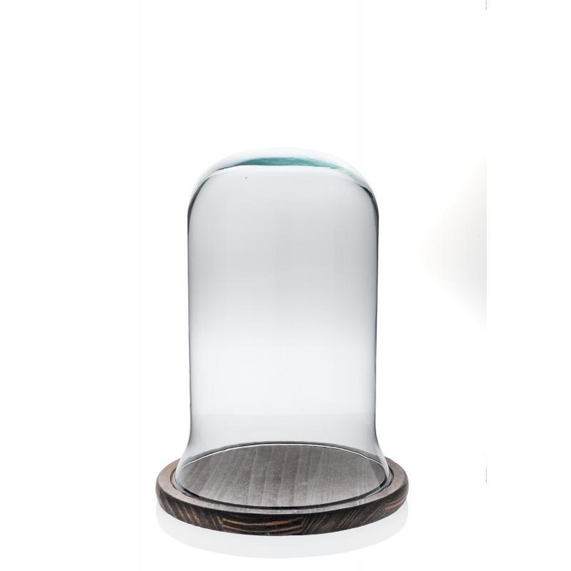 Cloche en verre décorative CAMPANA petit modèle sur plateau de bois naturel - Cloches en verre