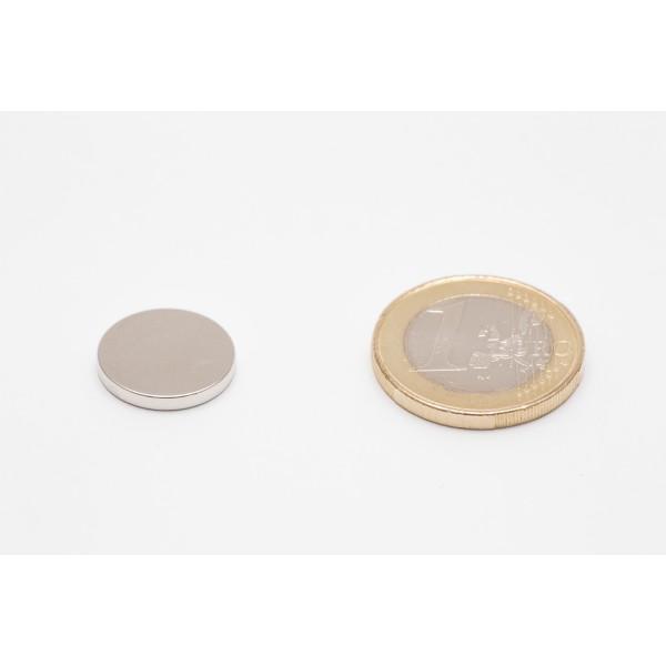 Neodymium disc magnet 15x2mm, N45, Ni-Cu-Ni, Nickel coated - Disc