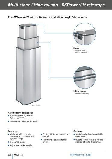 Columnas RK Powerlift - Columnas elevadoras de dos etapas y hasta 500 mm de carrera