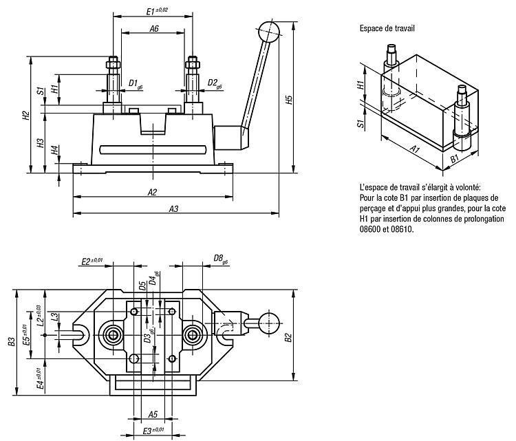 Montage de perçage, tailles 3 à 5 DIN 6348 - Dispositifs de perçage