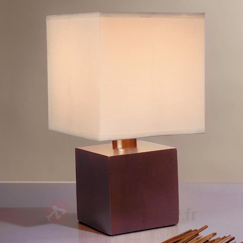 Lampe à poser ASTA abat-jour cubique marron/blanc - Lampes de chevet