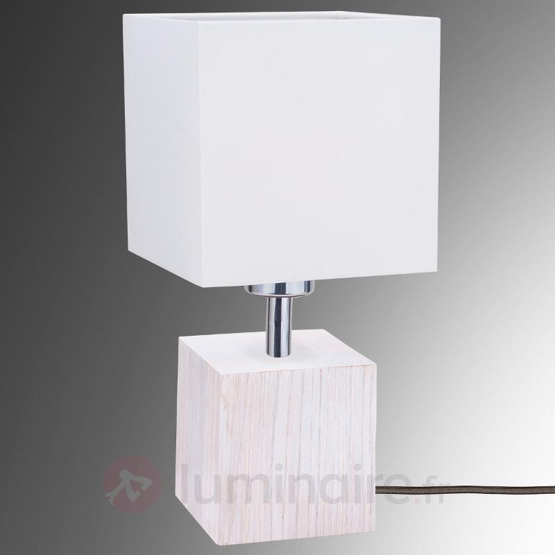 Lampe à poser Trongo rect. bois câble anthracite - Lampes à poser en bois
