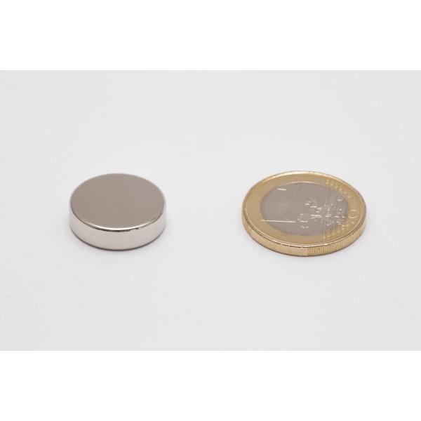 Neodymium disc magnet 18x5mm, N45, Ni-Cu-Ni, Nickel coated - Disc
