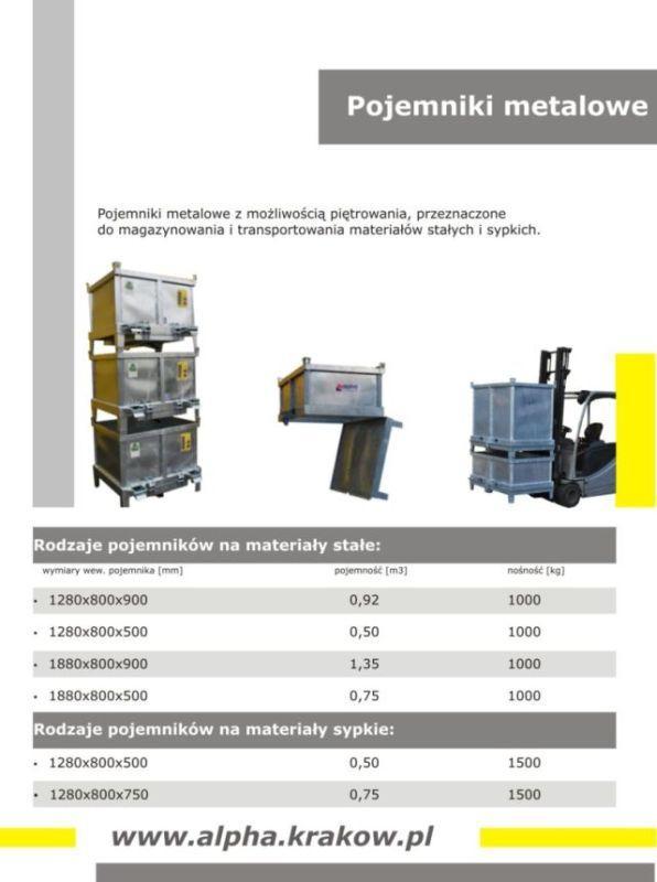 Pojemniki metalowe do magazynowania