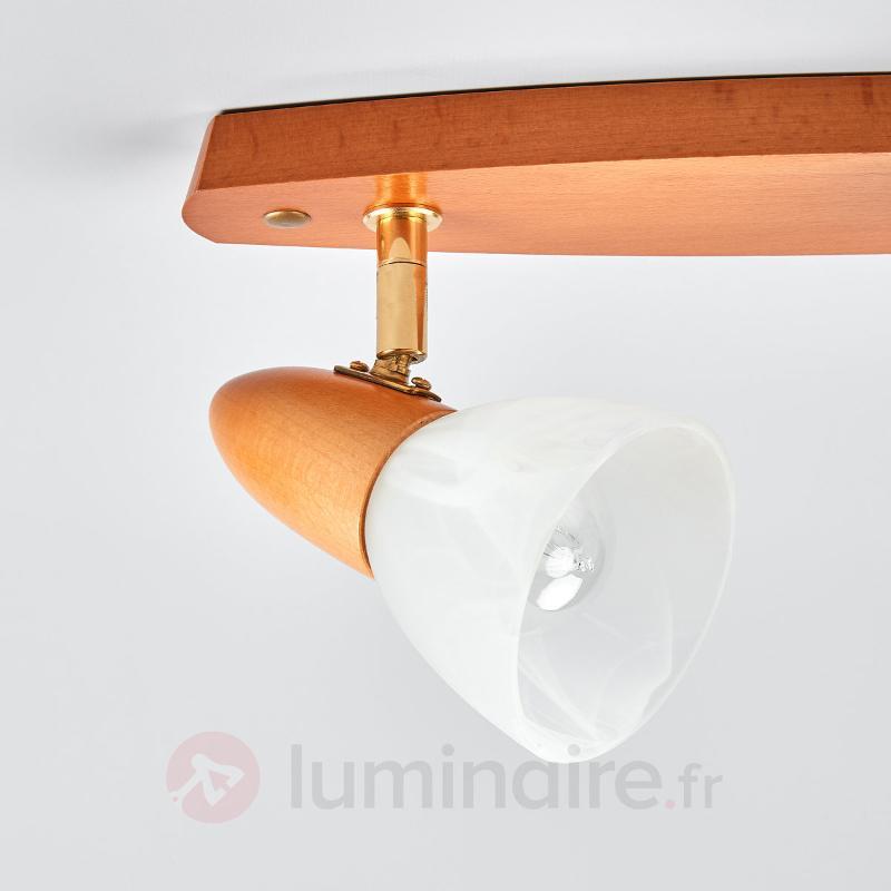 Aspect hêtre cerise - Plafonnier Julia à 2 lampes - Plafonniers en bois