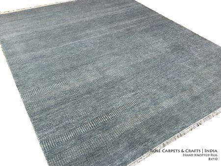 Indian Hand Knotted Contemporary Rug in Wool & Silk