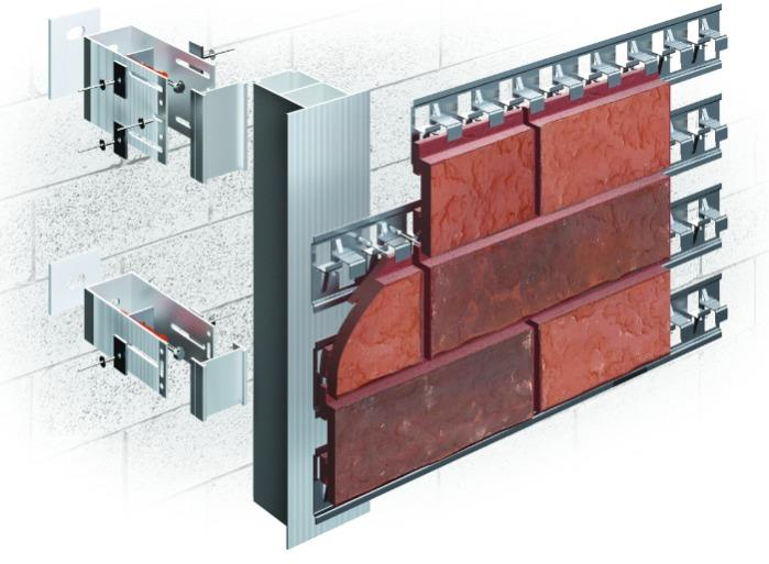 ALT-FASAD А/КL - For cladding with decorative clinker tiles (like bricks) in concealed fasteners