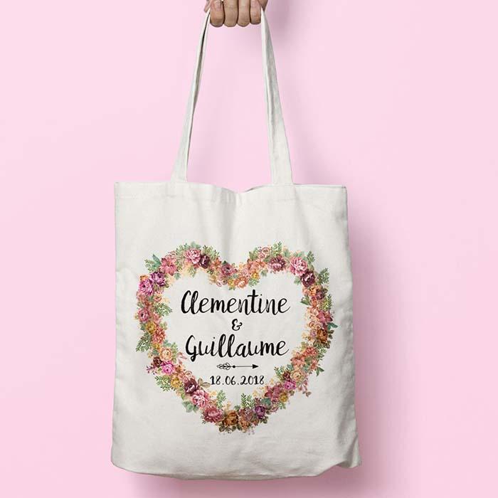 Tote bags personnalisable pour mariage, modèle cœur fleuri