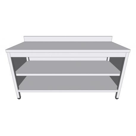 Table-armoire adossée ouverte en inox profondeur 70cm - Tables-armoires inox ouvertes