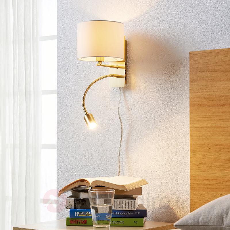 Applique laiton ancien Florens avec liseuse LED - Appliques en tissu
