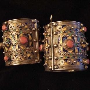Bracelets - Argent, corail, émail, Algérie