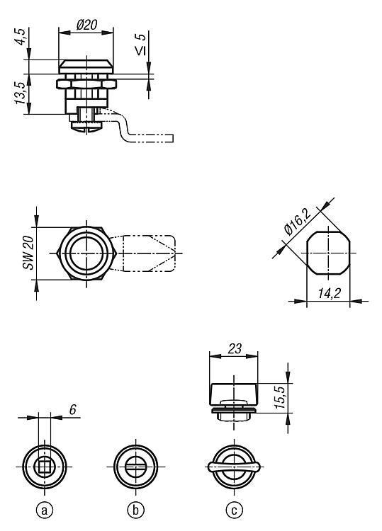 Serratura girevole modello piccolo - K0518