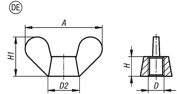 Écrou papillon DIN 315 - Éléments de liaison