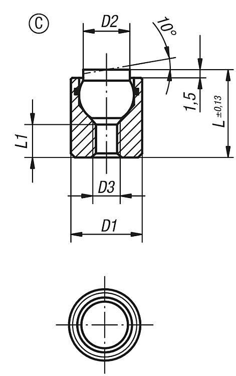 Self-aligning pads with O-ring - Self-aligning pads