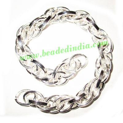 Silver Plated Metal Chain, size: 2x11mm, approx 4.6 meters i - Silver Plated Metal Chain, size: 2x11mm, approx 4.6 meters in a Kg.