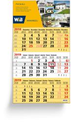 3-Monatsplaner - 3-Monats-Wandkalender Business gelb - 6-sprachige Ausgabe