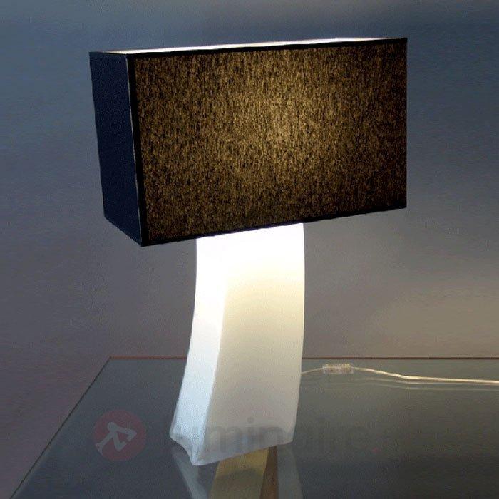 Lampe à poser noire NADINE pied opale - Lampes à poser en tissu