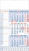 Calendriers 3 Mois - 3 Mois bleu Memo Plan