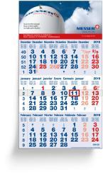 3-Monatsplaner - 3-Monats-Wandkalender Classic blau - 6-sprachige internationale Ausgabe