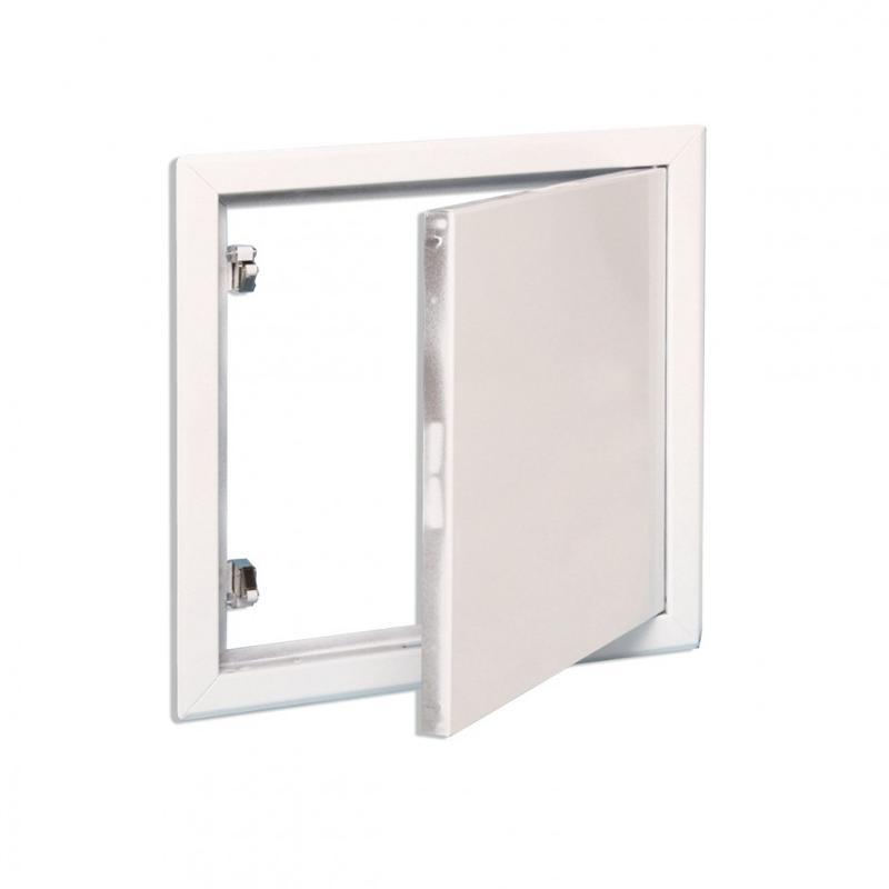 Trappe métallique blanche fermeture carrée - null