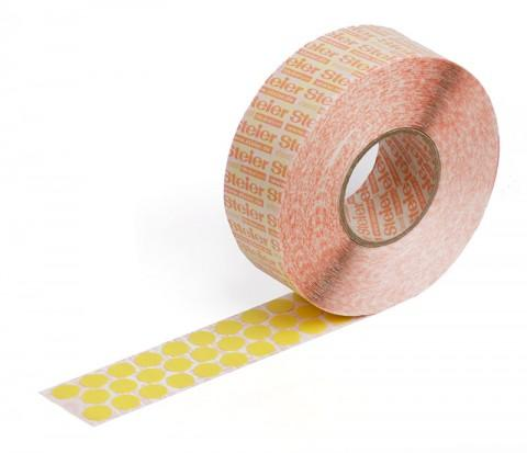yellow self-adhesive fabric marking dots 12 mm - coloured fabric, Steierform 87-67401