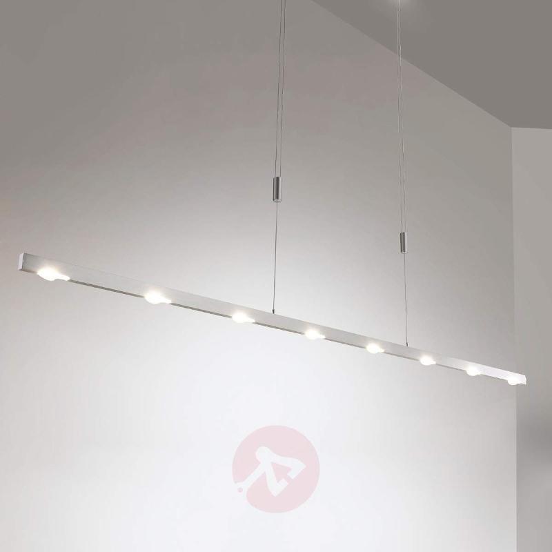 Sleek Sina LED pendant light, matt nickel, 179 cm - Pendant Lighting