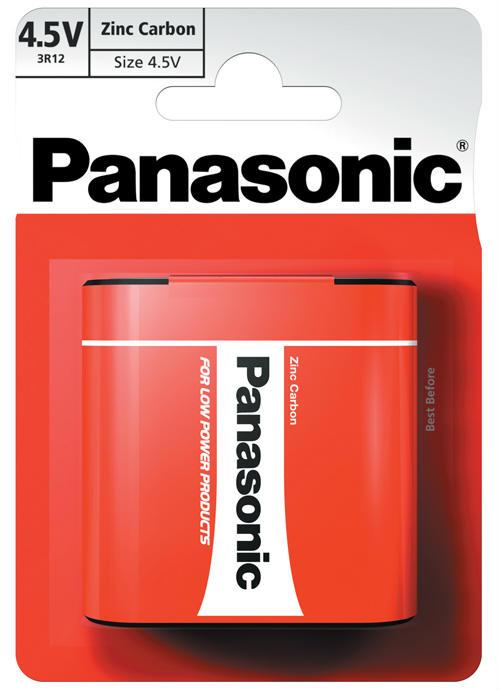 Batteria piatta 4,5V zinco carbone 1 pz - 3R12RZ/1BP | Blister da 1 pila Panasonic