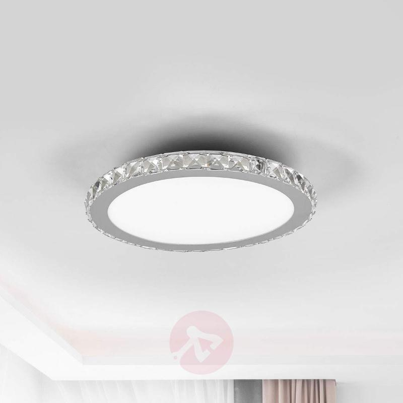 Round LED ceiling lamp Sesilia with crystal edging - Ceiling Lights