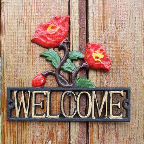 Decorative resin cast Rose Sign antique welcome plaque - Home Decoration