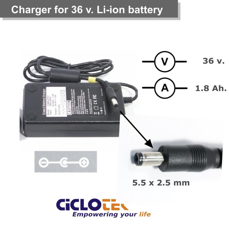 Cargador para batería de litio de 36v. tipo LF, CK (11 y 16) y FT - Ciclotek