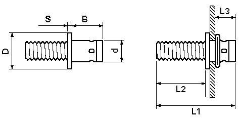 Blind rivet nuts - FASTEKS FILKO® - blind rivet studs - flat head