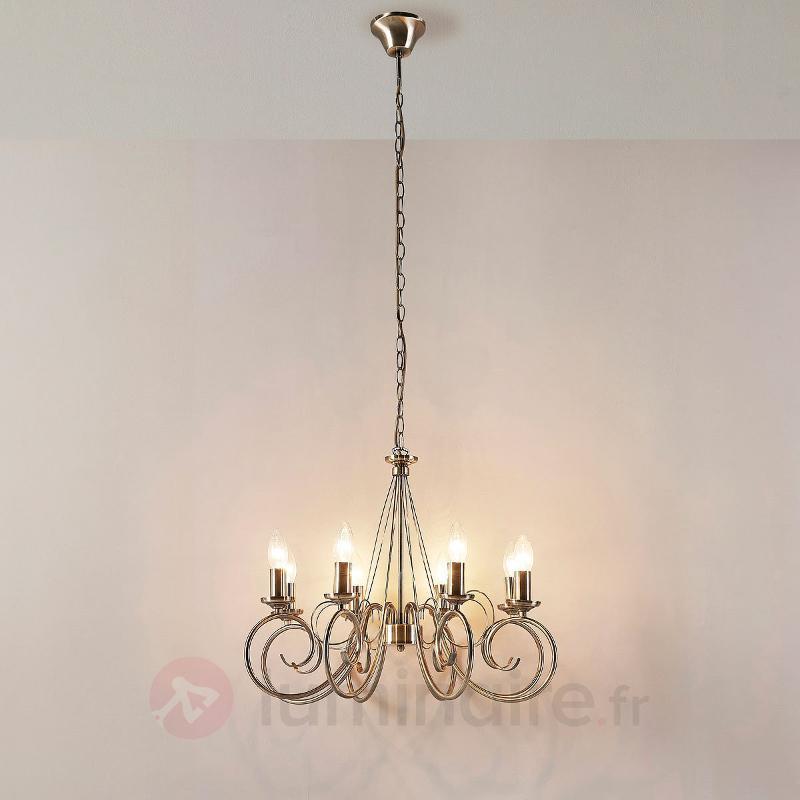 Lustre Marnia en laiton ancien à huit lampes - Lustres classiques,antiques