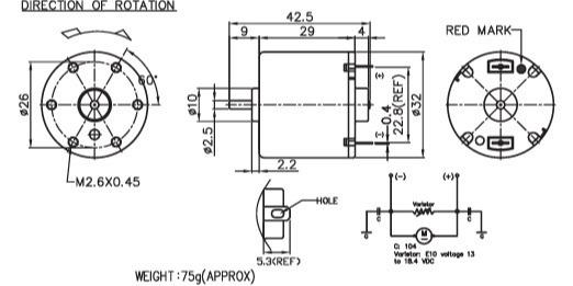 3-24V 1-10W 10000RPM 32*29 Nichibo GRD DC motor - drill&screwdriver, tire pump, power antenna, auto transformer