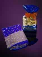 POLYPROPYLENE-CROSS BOTTOM BAG - 30 MY COEX., 2-COLORED BLUE/GOLD