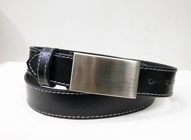 Leather Formal dress belt for men - Black Formal Men's Leather Belt white stitching and plate bukle