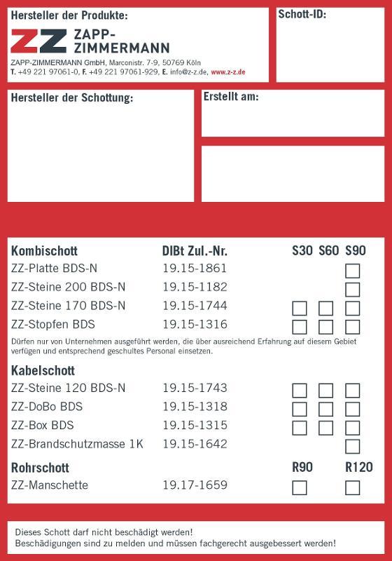 Abschottungssysteme Systemkomponenten - Kennzeichnungsschild DIBt Zulassung