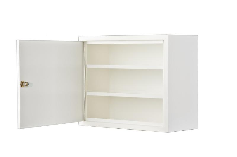 Small metal cabinet with two shelves - null