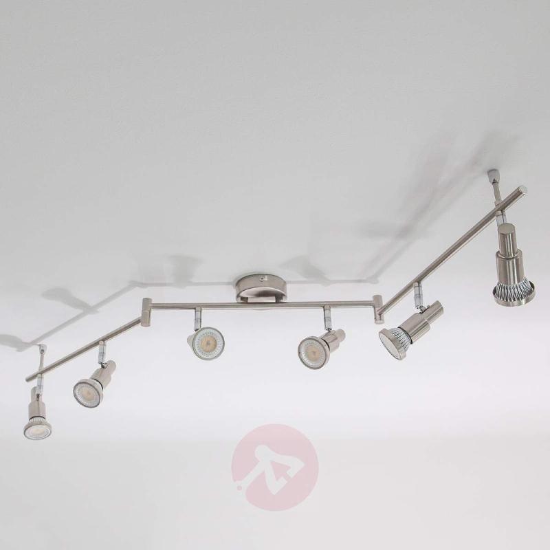 Nickel coloured LED ceiling light Aron, 6-bulb - Ceiling Lights