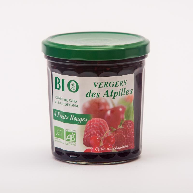 Vergers BIO - 4 fruits rouges - Confitures Biologiques au sucre de canne