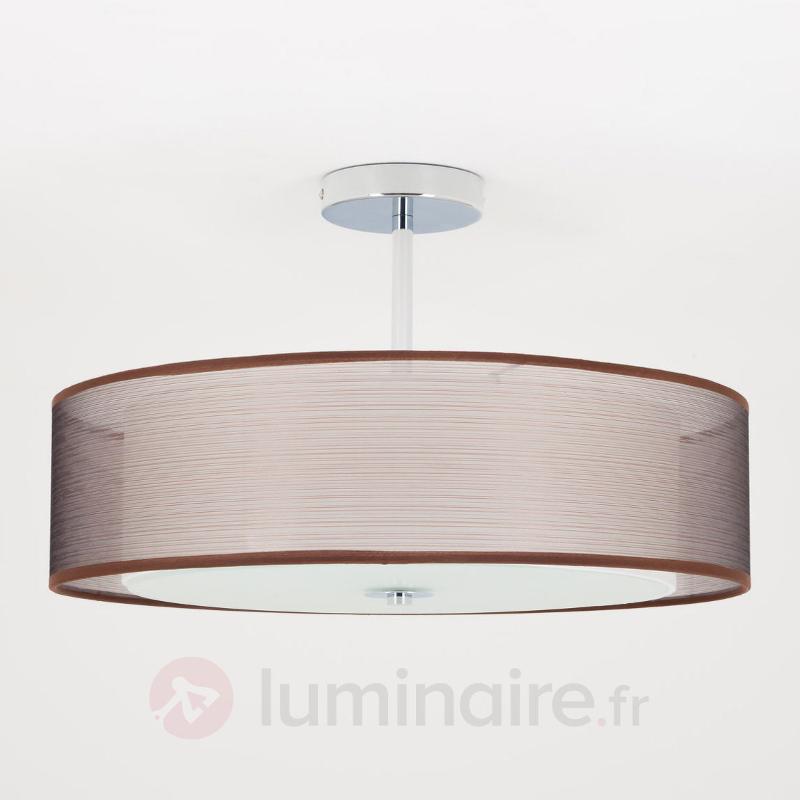 Plafonnier LED Pikka avec abat-jour brun - Plafonniers en tissu