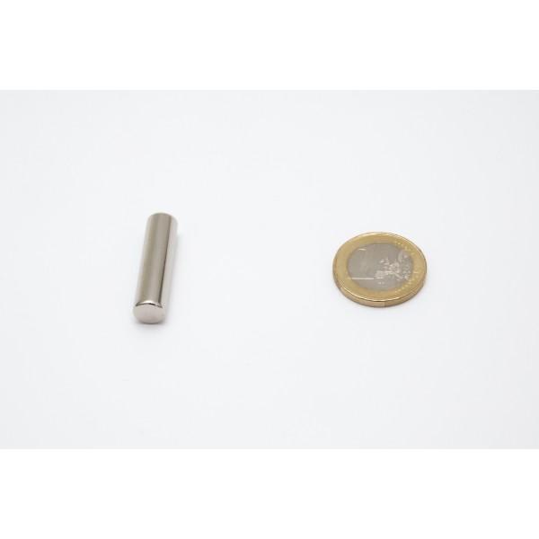 Neodymium disc magnet 8x30mm, N45, Ni-Cu-Ni, Nickel coated - Disc