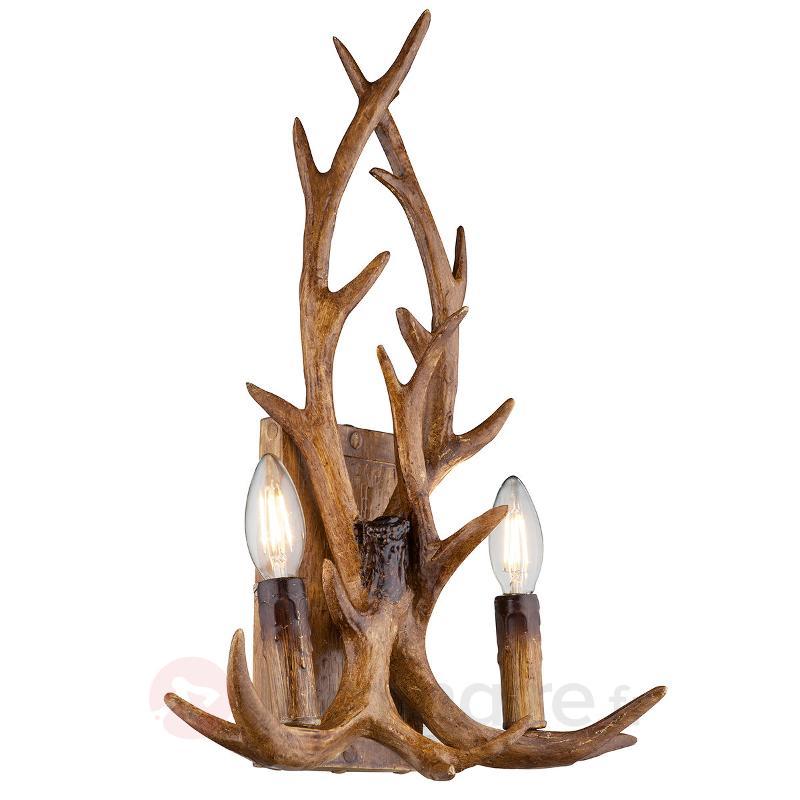 Applique à deux lampes Waleah, bois de cerf - Appliques rustiques