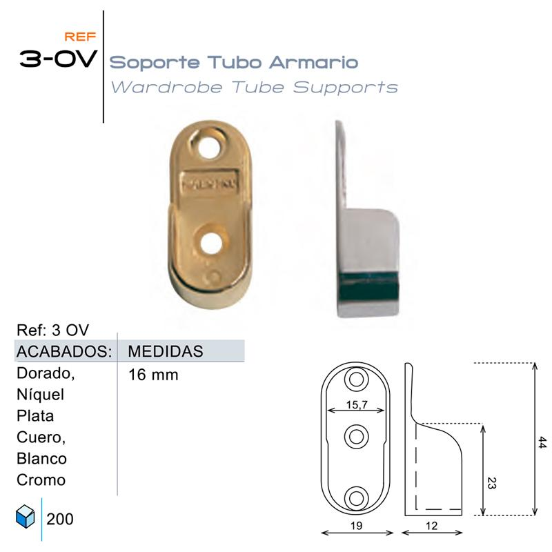 Soporte Tubo Armario 3-OV