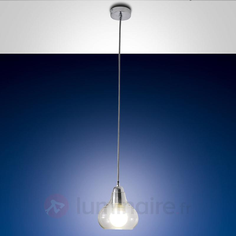 Suspension Liri à 1 lampe, chromé - Suspensions en verre