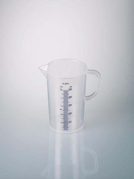 Graduated beakers with handle, blue graduation - Plastic beaker, PP, transparent, volume measurement, laboratory equipment