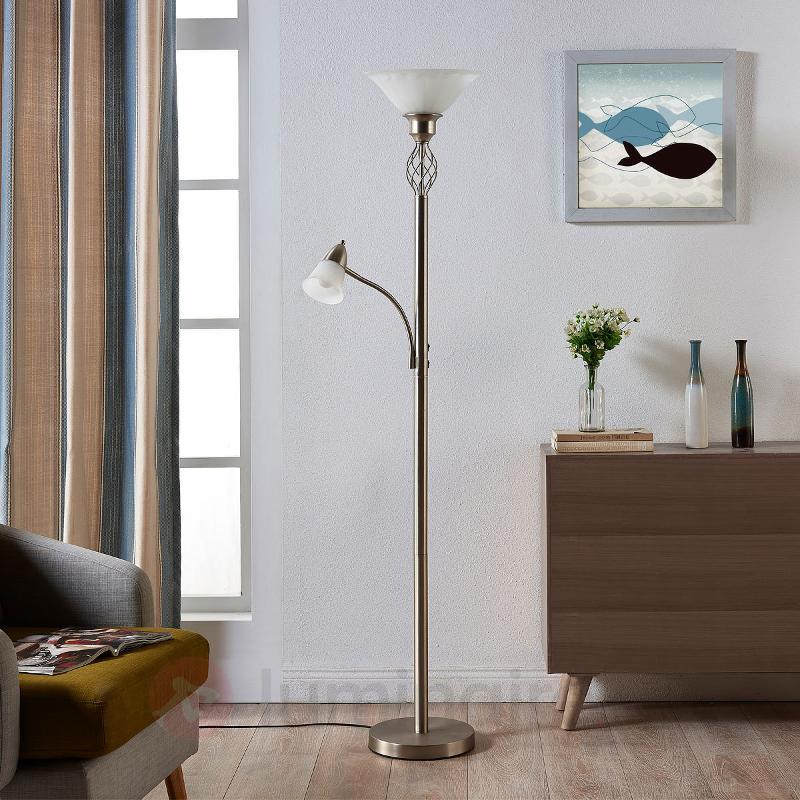 Lampadaire LED Dunja couleur nickel avec liseuse - Lampadaires LED à éclairage indirect
