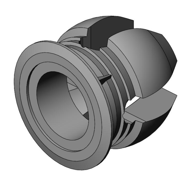 PaBo KS-Muffe M6 - PA6 - Schwarz - Möbelzierbeschläge