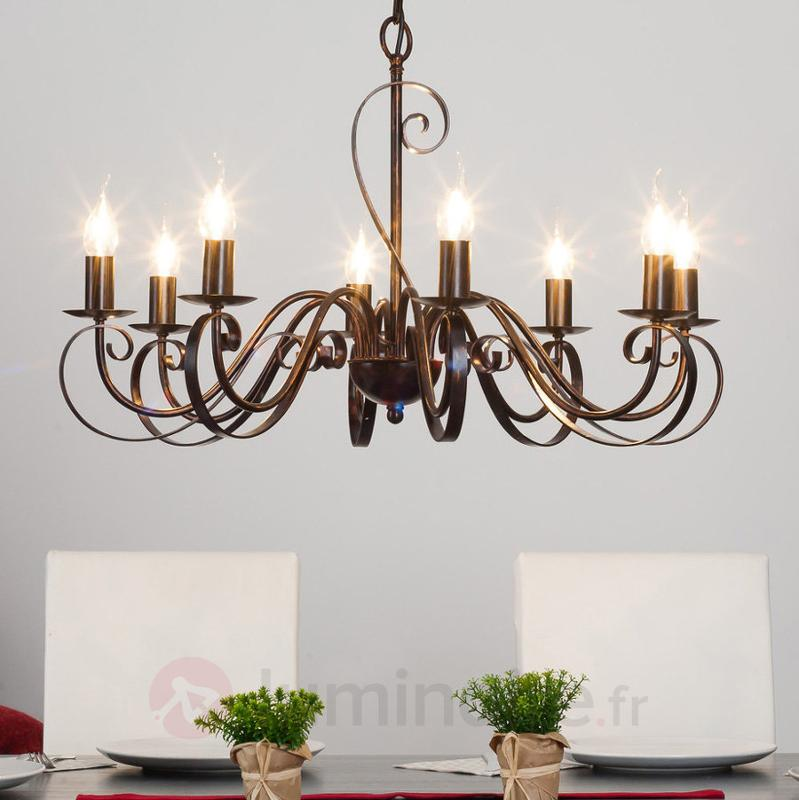 Caleb - lustre style champêtre à huit lampes - Lustres rustiques